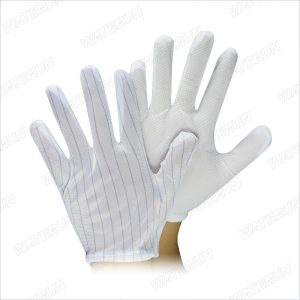 ESD Glove Carbon Stripe PU Coated Dot